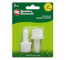 Штуцер для шланга елочка пластик QUATTRO ELEMENTI 3/4-12 мм