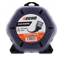 Леска триммерная ECHO Black Diamond Line 2.4 12 м
