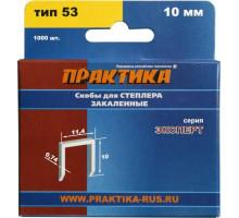 Скобы для степлера закаленные ПРАКТИКА 10 мм №53