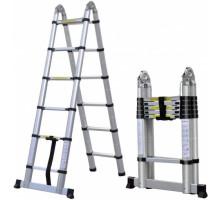 Двухсторонняя телескопическая лестница с шарниром 1.9 м
